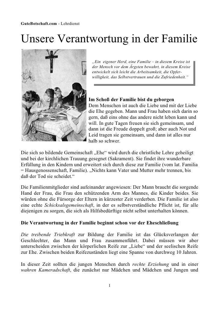 """GuteBotschaft.com - Lehrdienst   Unsere Verantwortung in der Familie                                   """"Ein eigener Herd, ..."""