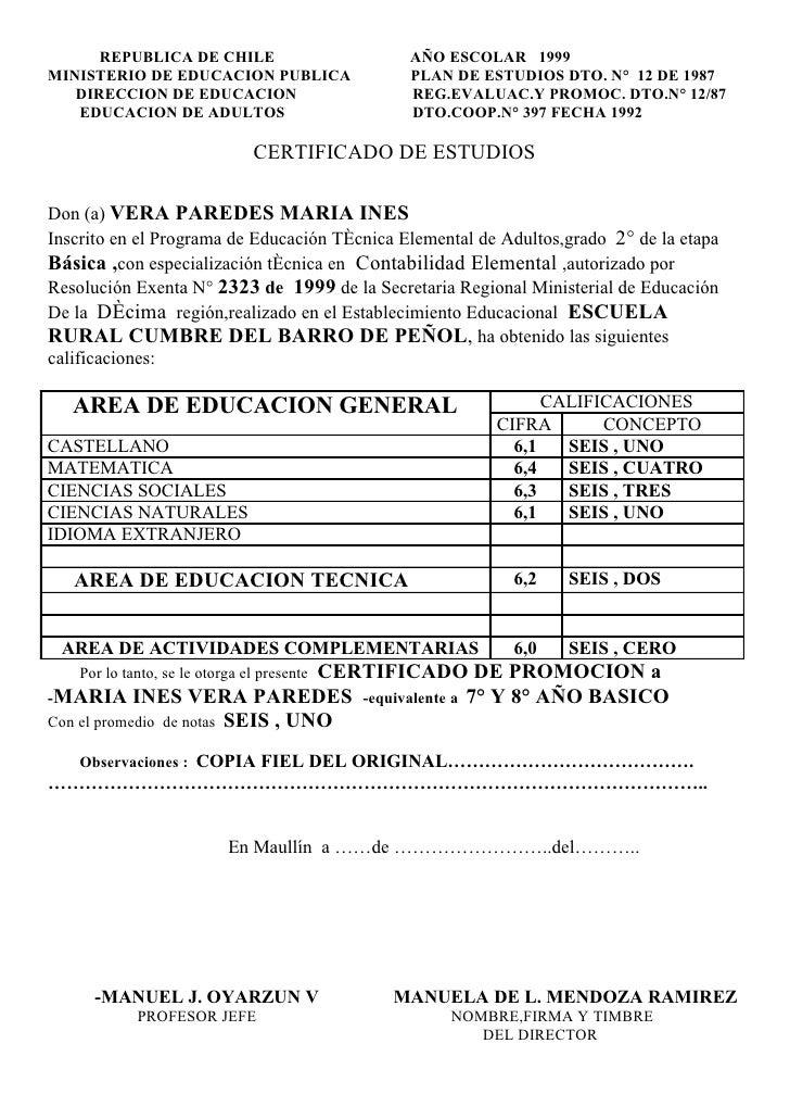 REPUBLICA DE CHILE                      AÑO ESCOLAR 1999 MINISTERIO DE EDUCACION PUBLICA               PLAN DE ESTUDIOS DT...