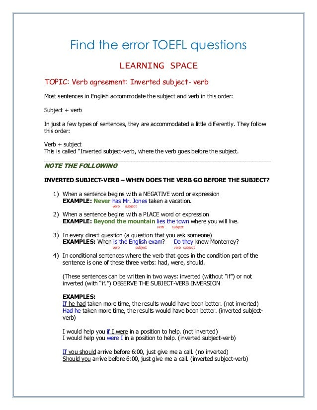Verb Agreement Inverted Subject Verb