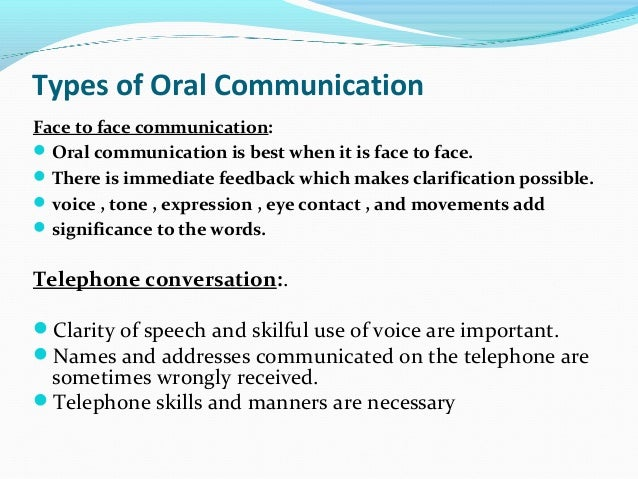 oral and verbal communication