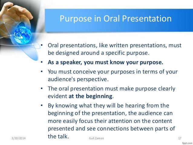 Purpose of oral presentation