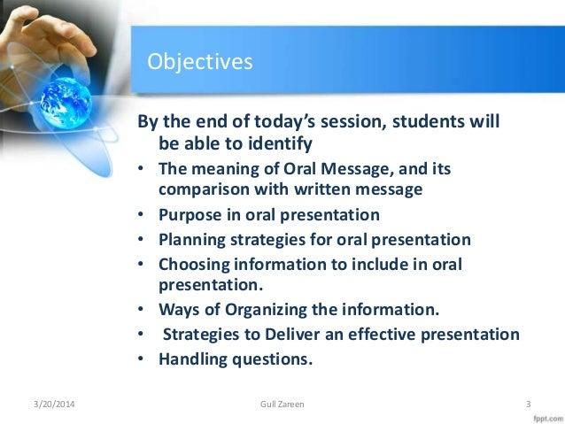 purpose of oral presentation