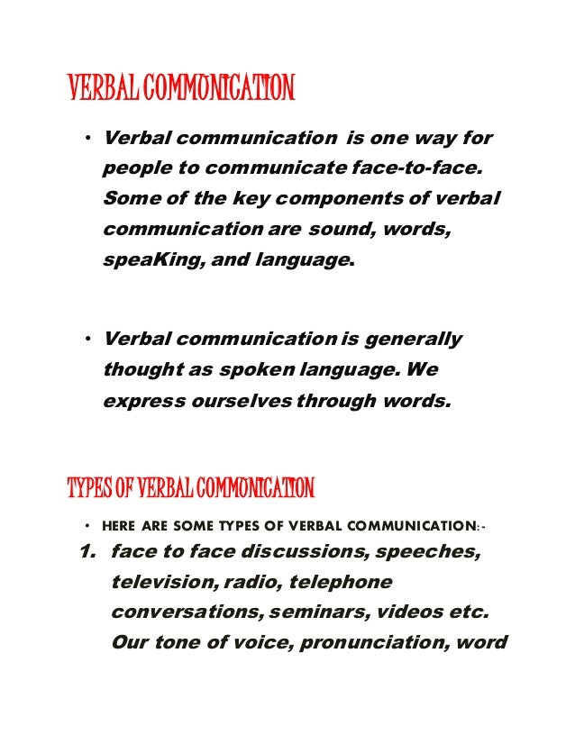 types of verbal communication