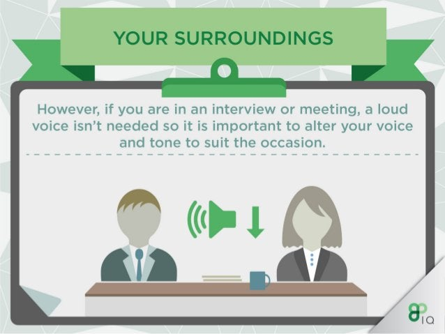YOUR SURROUNDINGS  When in a room with lots of people be sure to increase the volume of your voice and be authoritative in...