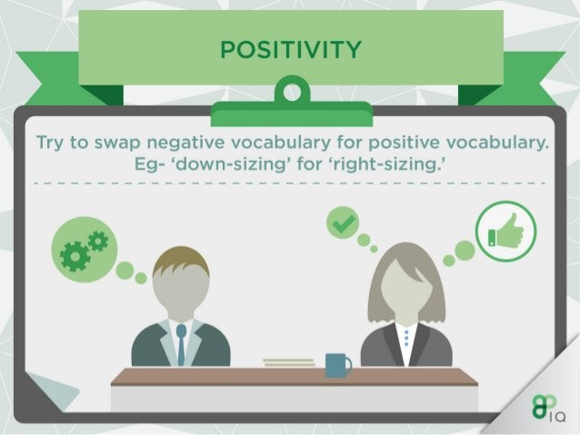 POSITIVITY  Choosing the right tone of voice,  language and style is key as it can be the deciding point as to whether you...