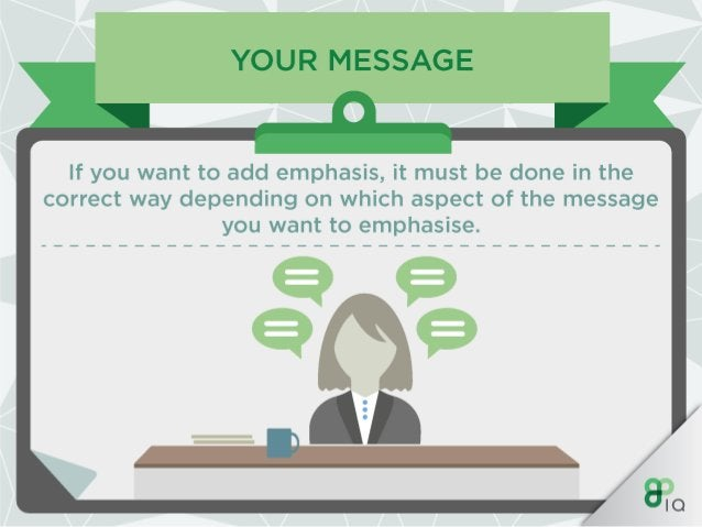 YOUR MESSAGE  It is important to emphasise certain aspects of your message to create impact and highlight key parts.