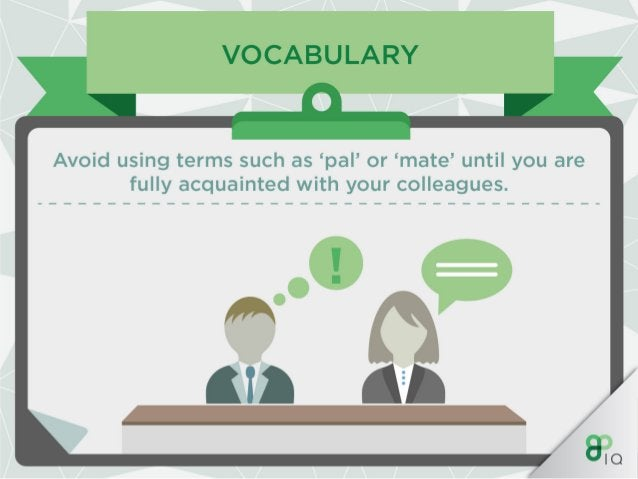 VOCABULARY  Try and avoid slang or colloquialisms.   QIO i
