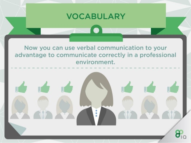 VOCABULARY I I .   Whether it's a presentation or a meeting,  make sure you are focussed on your choice of vocabulary and ...