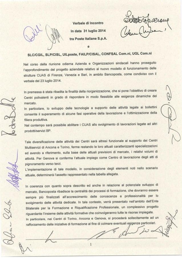 "W"" QM""  Xai«%JZ  M  X  Verbale di Incontro ' "" In data 31 luglio 2014 K g z ' tra Poste Italiane S. p.A.  .6  SLCICGIL,  S..."