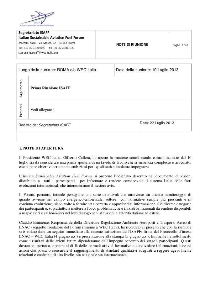 SegretariatoISAFF ItalianSustainableAviationFuelForum c/oWECItalia–ViaMosca,32‐00142Roma Tel:+39065...