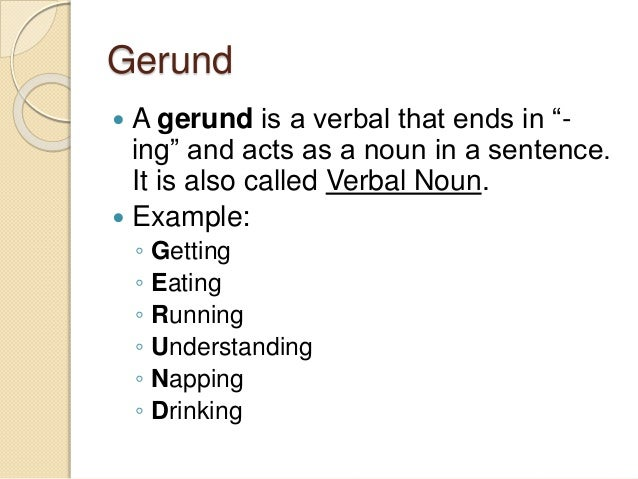Verbals Infinitives Participles Gerunds
