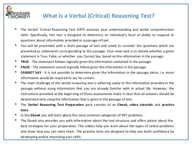 verbal essay test Gmat prep guide for the math and verbal sections: the gmat (graduate management admissions test) consists of two multiple-choice sections (quantitative and verbal) and an essay section called the analytical writing assessment (awa.