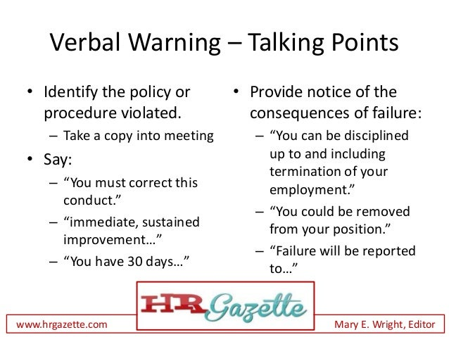 ... 10. Verbal Warning ...