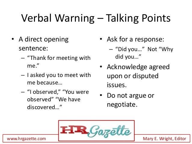 Superb Verbal Warning ...