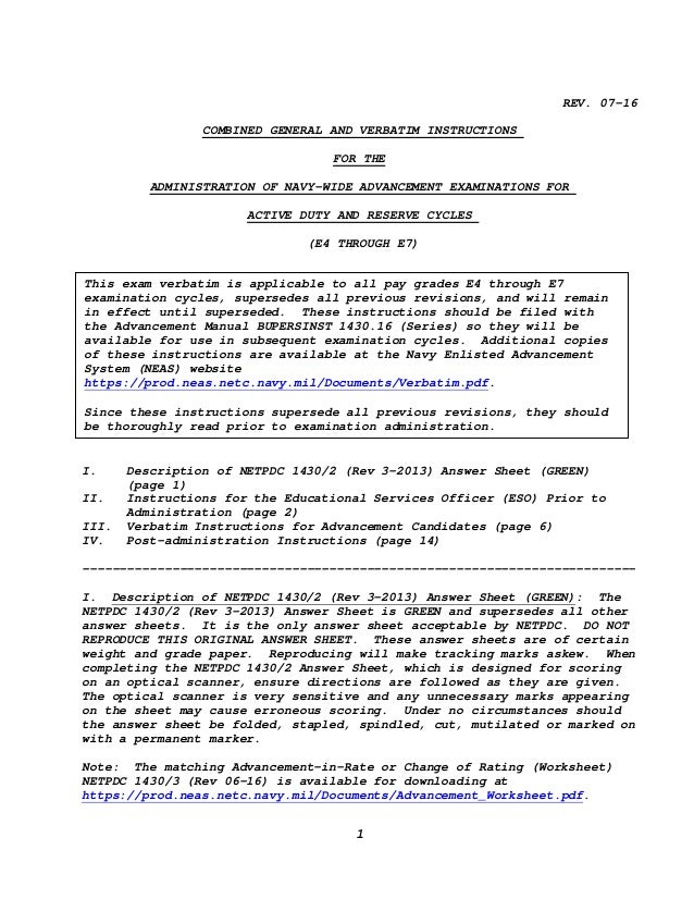 exam verbatim rh slideshare net Navy Promotion Manual BUPERSINST 1430.16 Advancement Manual