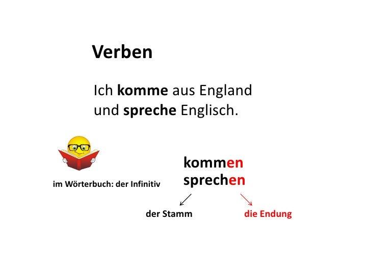 Verben<br />Ich komme aus England und spreche Englisch.<br />kommen<br />sprechen<br />imWörterbuch: derInfinitiv<br />a<b...