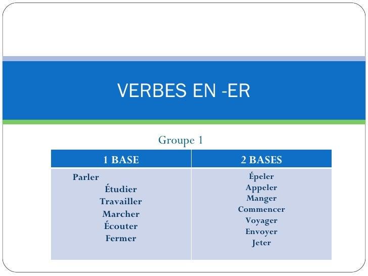 Groupe 1 VERBES EN -ER 1 BASE 2 BASES Parler  Étudier Travailler Marcher Écouter Fermer Épeler Appeler Manger Commencer Vo...