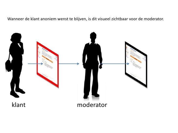 Wanneer de klant anoniem wenst te blijven, is dit visueel zichtbaar voor de moderator. <br />moderator<br />klant <br />