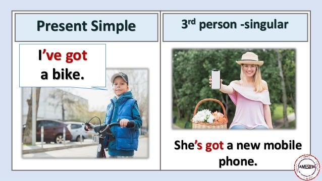 Present Simple 3rd person -singular She's got a new mobile phone. I've got a bike.