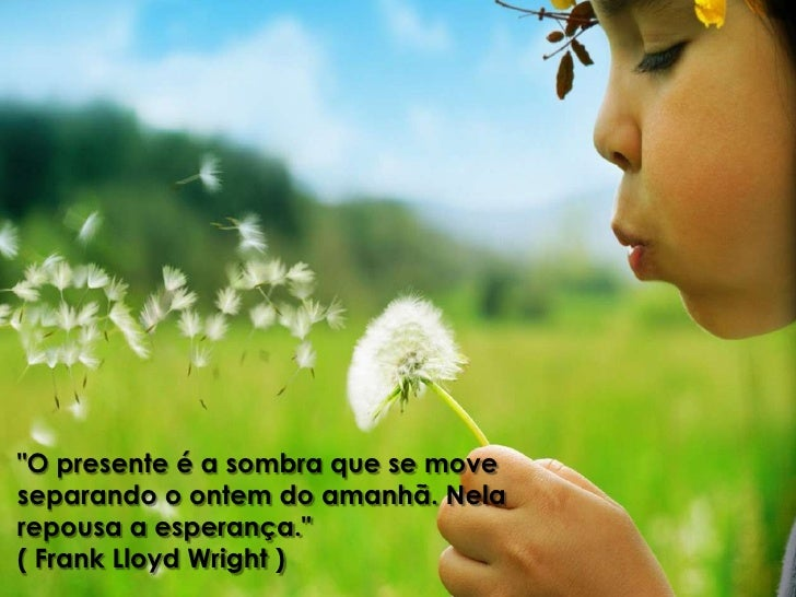 """""""O presente é a sombra que se moveseparando o ontem do amanhã. Nelarepousa a esperança.""""( Frank Lloyd Wright )"""
