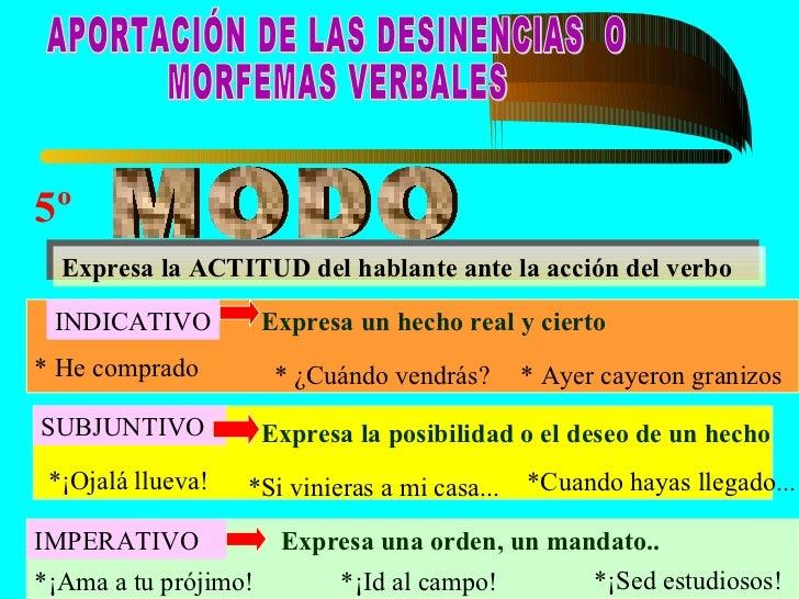  Se llama conjugación a las distintas formas    del verbo cuando se une al lexema (raíz) los    diversos morfemas (desine...