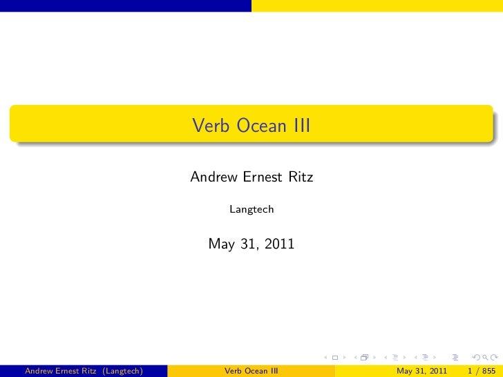 Verb Ocean III                                Andrew Ernest Ritz                                      Langtech            ...