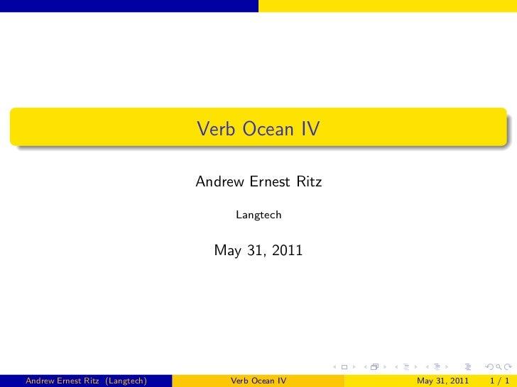 Verb Ocean IV                                Andrew Ernest Ritz                                      Langtech             ...