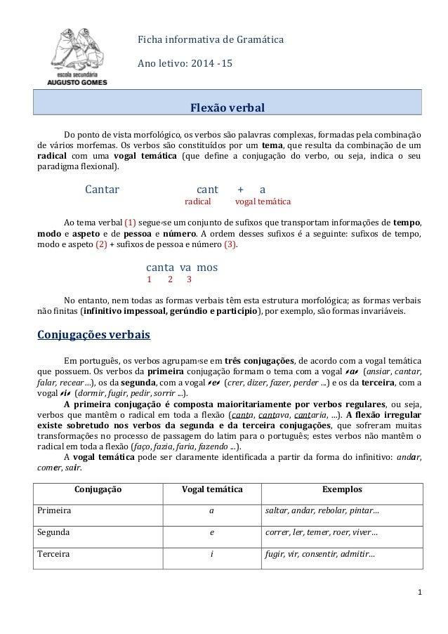 Ficha informativa de Gramática Ano letivo: 2014 -15 Do ponto de vista morfológico, os verbos são palavras complexas, forma...