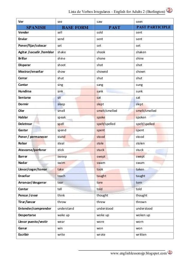 lista verbos irregulares ingles pdf