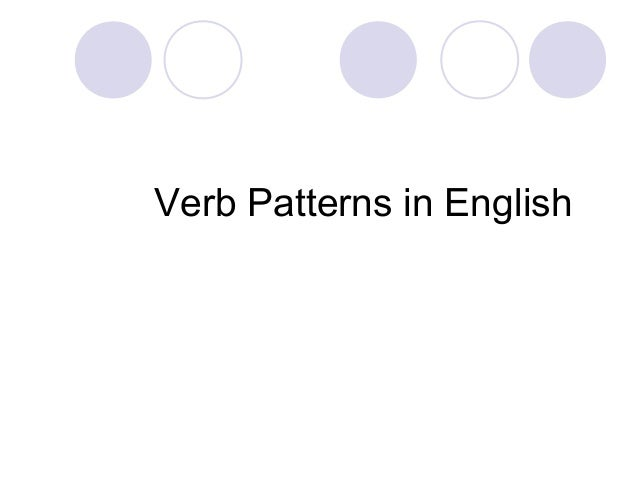 Verb Patterns in English