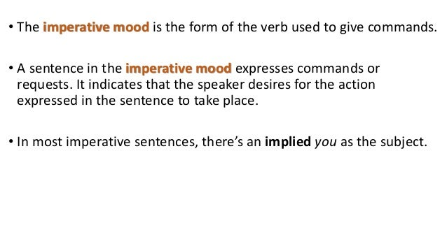 Verbs 3 moods grade 8