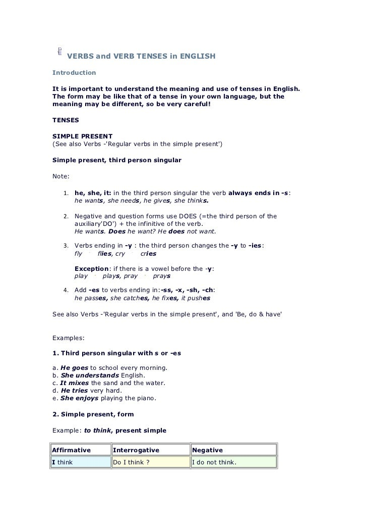 VERBS and VERB TENSES in ENGLISHIntroductionIt is important to understand the meaning and use of tenses in English.The for...