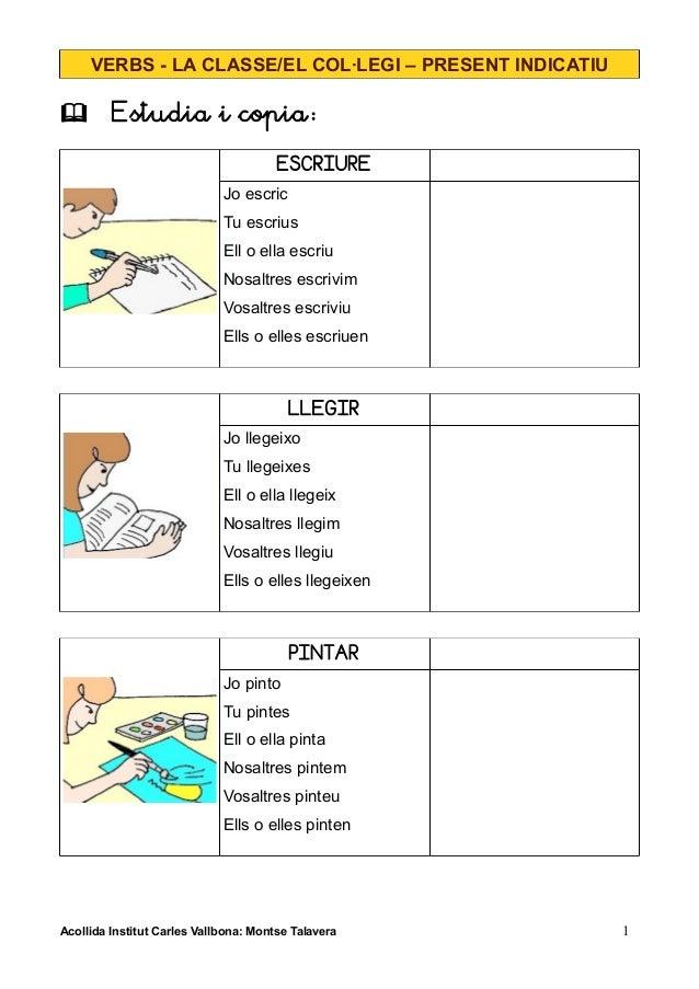 VERBS - LA CLASSE/EL COL·LEGI – PRESENT INDICATIU  Estudia i copia: ESCRIURE Jo escric Tu escrius Ell o ella escriu Nosal...