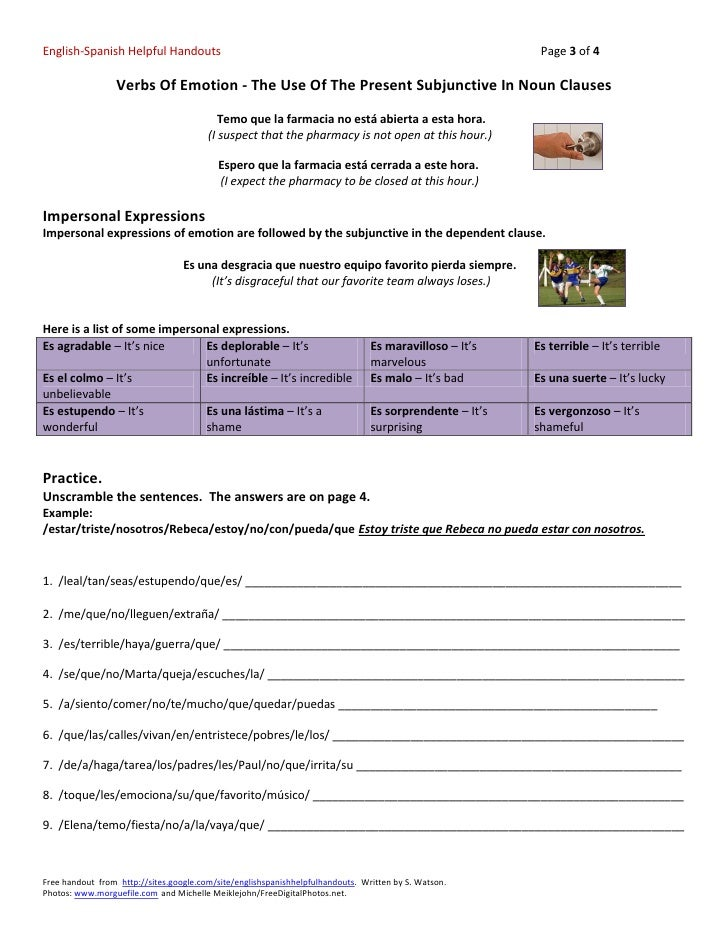 Verbs Of Emotion The Use Of The Present Subjunctive In Noun Clauses – Spanish Subjunctive Worksheet
