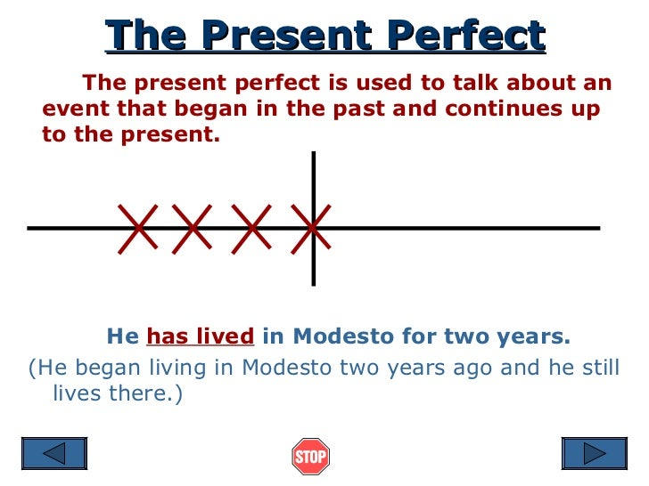 The Present Perfect The present perfect is used to talk about an event that began in the past and continues up to the pres...