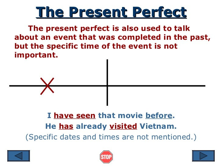 The Present Perfect The present perfect is also used to talk about an event that was completed in the past, but the specif...
