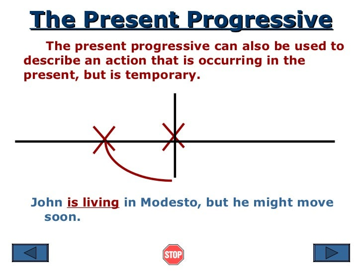 The Present Progressive The present progressive can also be used to describe an action that is occurring in the present, b...