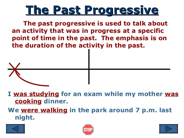 The Past Progressive The past progressive is used to talk about an activity that was in progress at a specific point of ti...