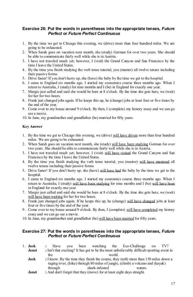 Verb tense exercisesanswer 080912 – Verb Tense Worksheets High School