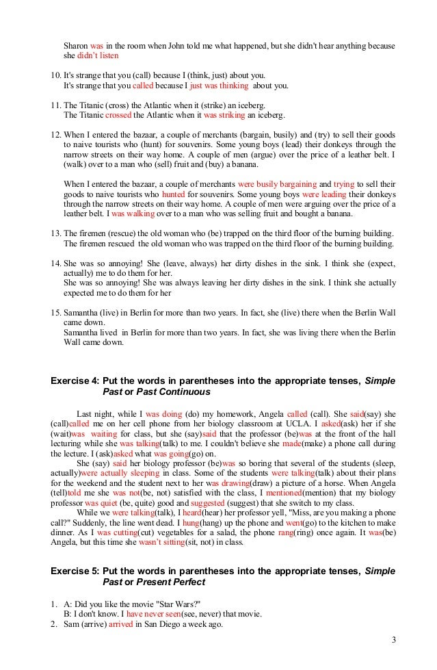 Verb tense exercisesanswer 080912 – Verb Tense Worksheets High School