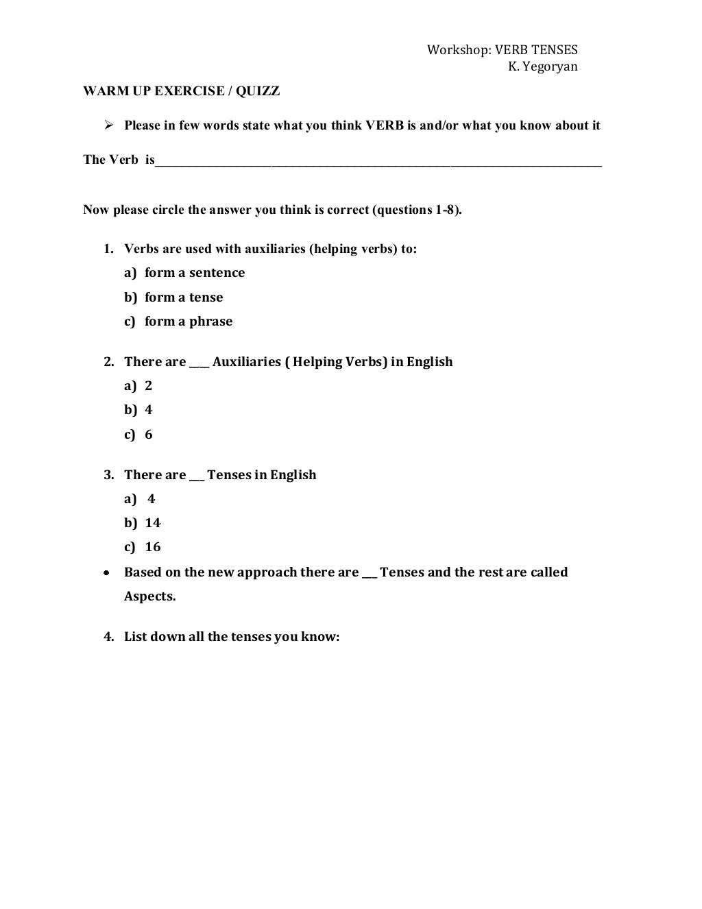 Thesis statement handout middle school