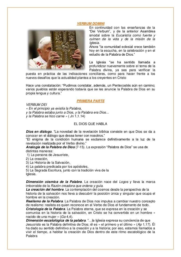 VERBUM DOMINI                                        En continuidad con las enseñanzas de la                              ...