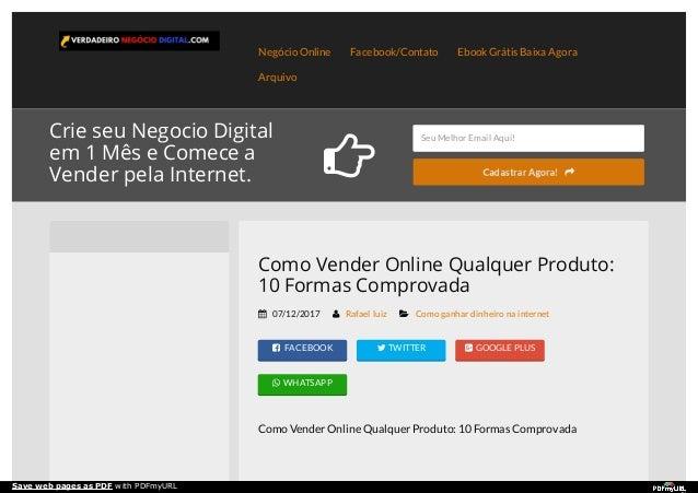 Negócio Online Facebook/Contato Ebook Grátis Baixa Agora Arquivo Crie seu Negocio Digital em 1 Mês e Comece a Vender pela ...