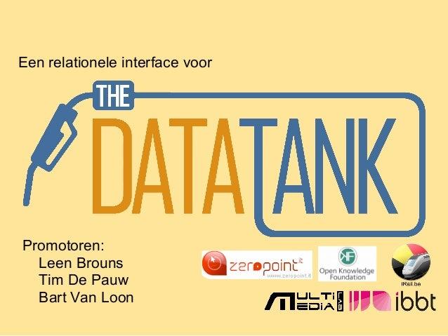 Een relationele interface voor Promotoren: Leen Brouns Tim De Pauw Bart Van Loon