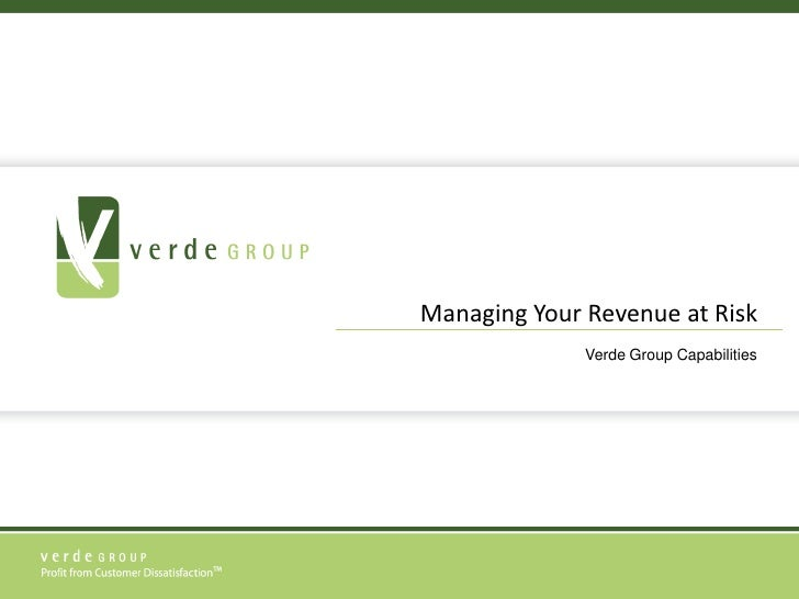 Managing Your Revenue at Risk<br />Verde Group Capabilities<br />