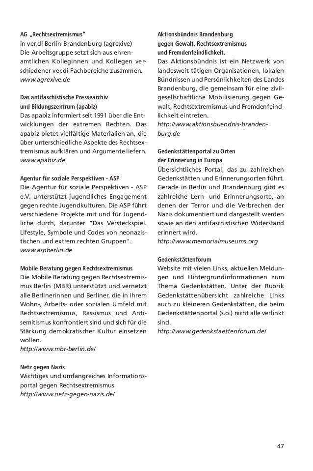 48Arbeitsgruppe gegen Rechtsextremismusin ver.di Berlin-Brandenburg –Agrexive – wer wir sind und was wir wollenWir sind di...