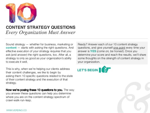 Sound strategy — whether for business, marketing or content — starts with askingthe right questions. And effectiveexecut...