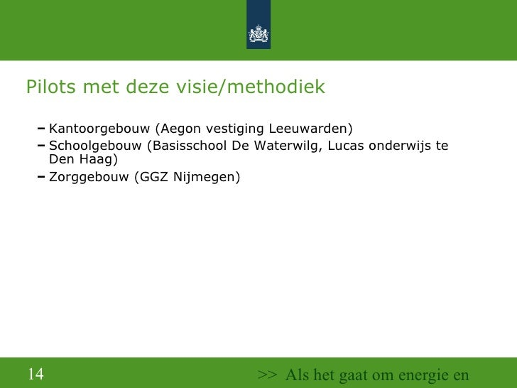 Pilots met deze visie/methodiek <ul><ul><ul><li>Kantoorgebouw (Aegon vestiging Leeuwarden) </li></ul></ul></ul><ul><ul><ul...