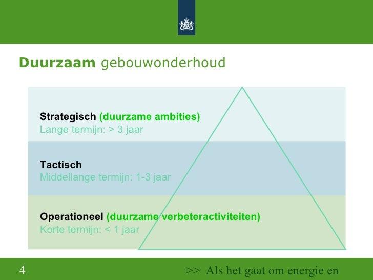 Duurzaam  gebouwonderhoud Strategisch  (duurzame ambities) Lange termijn: > 3 jaar Tactisch Middellange termijn: 1-3 jaar ...