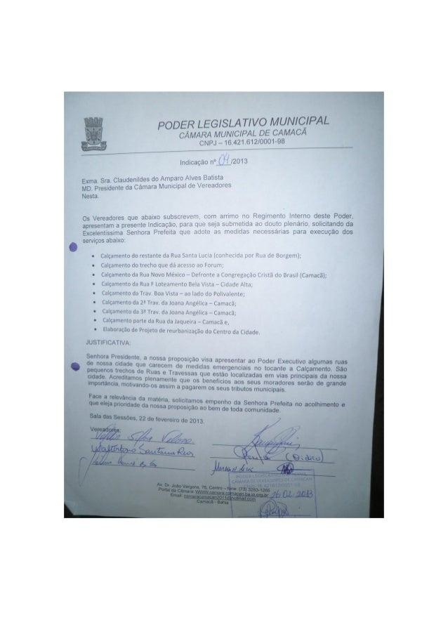 Vereador Valdir. Indicações 2013.